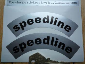 """Speedline Black & Silver Curved Stickers. 4"""" Pair."""