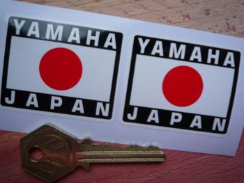 "Yamaha Japanese Hinomaru Flag Style Stickers. 2"" Pair."
