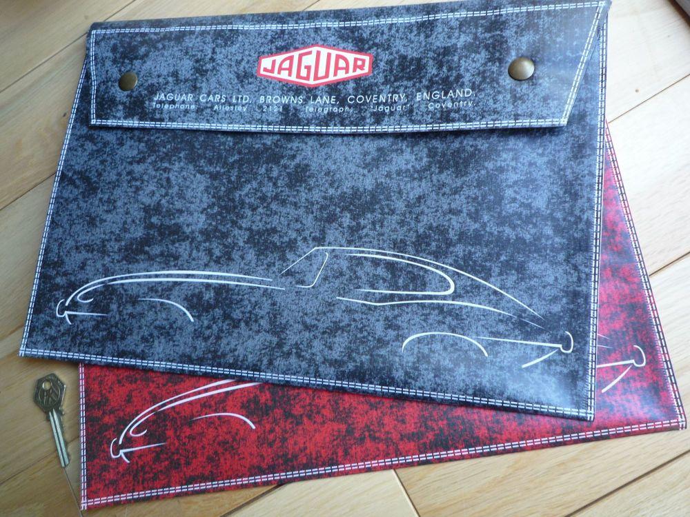 "Jaguar E Type GREEN, BLACK or RED Document Holder/Light Toolbag for A4 size. 14""."