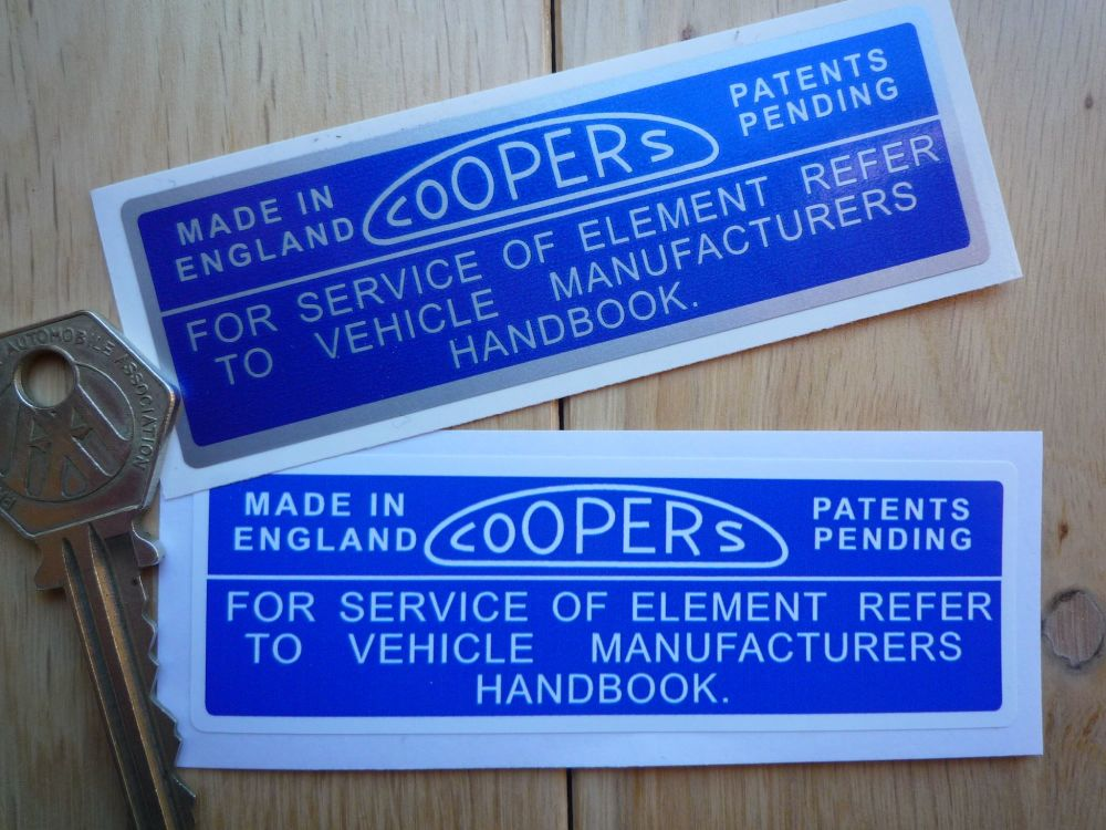 "Coopers Air Filter Sticker. Blue & White or Blue & Silver 4""/100mm."