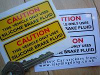 Caution Silicone Brake Fluid Sticker. Yellow or White. 3