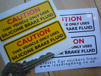 "Caution Silicone Brake Fluid Sticker. Yellow or White. 3"" Pair."