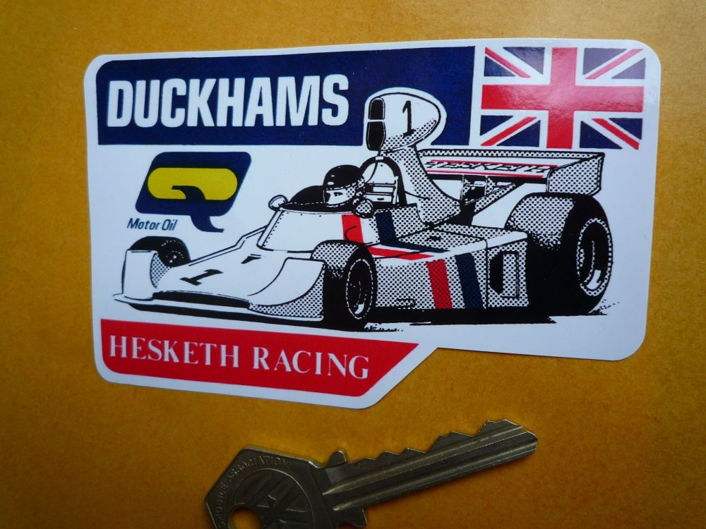 "Hesketh Racing Duckhams F1 Formula One James Hunt Sticker. 4""."