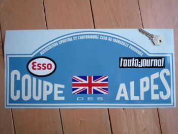 "Coupe Des Alpes. Esso. L'auto-journal. Rally Plate Sticker. 6""."