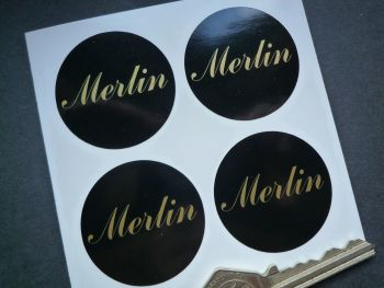 Merlin Black & Silver or Black & Gold Wheel Centre Stickers. Set of 4. 40mm.