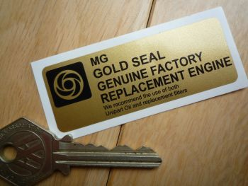"""MG Gold Seal Factory Replacement Engine Sticker. 3""""."""