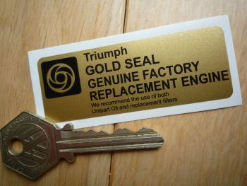 """Triumph Gold Seal Factory Replacement Engine Sticker. 3""""."""