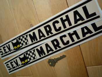 "SEV Marchal Black & Beige Stripe Stickers. 15"" Pair."