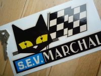 "SEV Marchal Cat & Script Stickers. Old Style in Beige. 4.5"" or 7.5"" Pair."