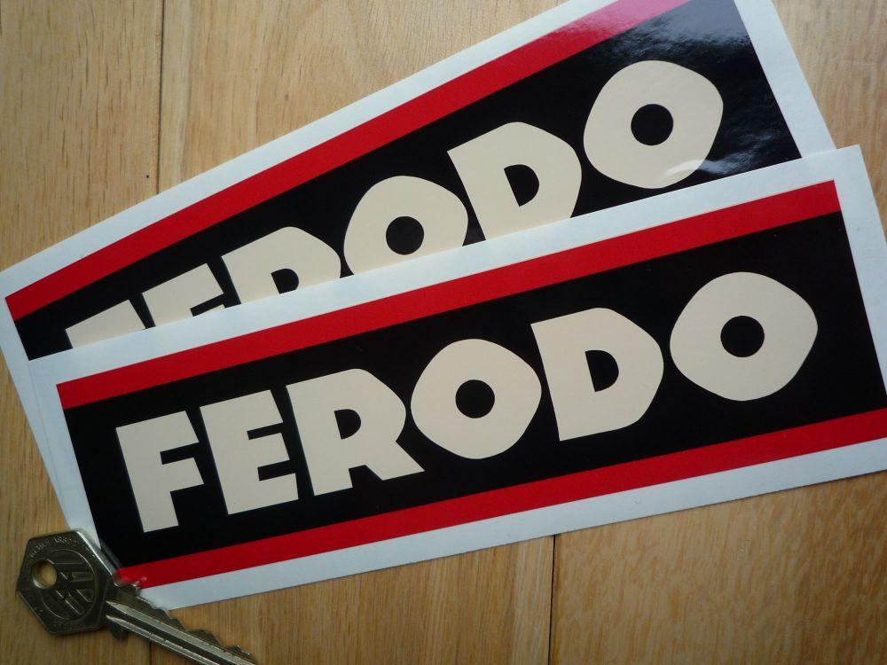 """Ferodo Style 3 Beige Oblong Stickers. 6.75"""" Pair."""