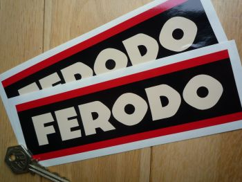 "Ferodo Style 3 Beige Oblong Stickers. 6.75"" Pair."