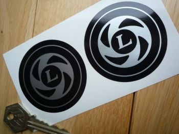 British Leyland Circular 'L' Logo Silver & Black Coach line Stickers. 60mm Pair.