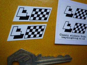 "Les Leston Black & White Parallelogram Stickers. 1.5"" Pair."