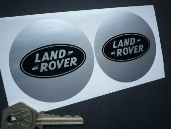Land Rover Black & Silver Round Stickers. 68mm Pair.