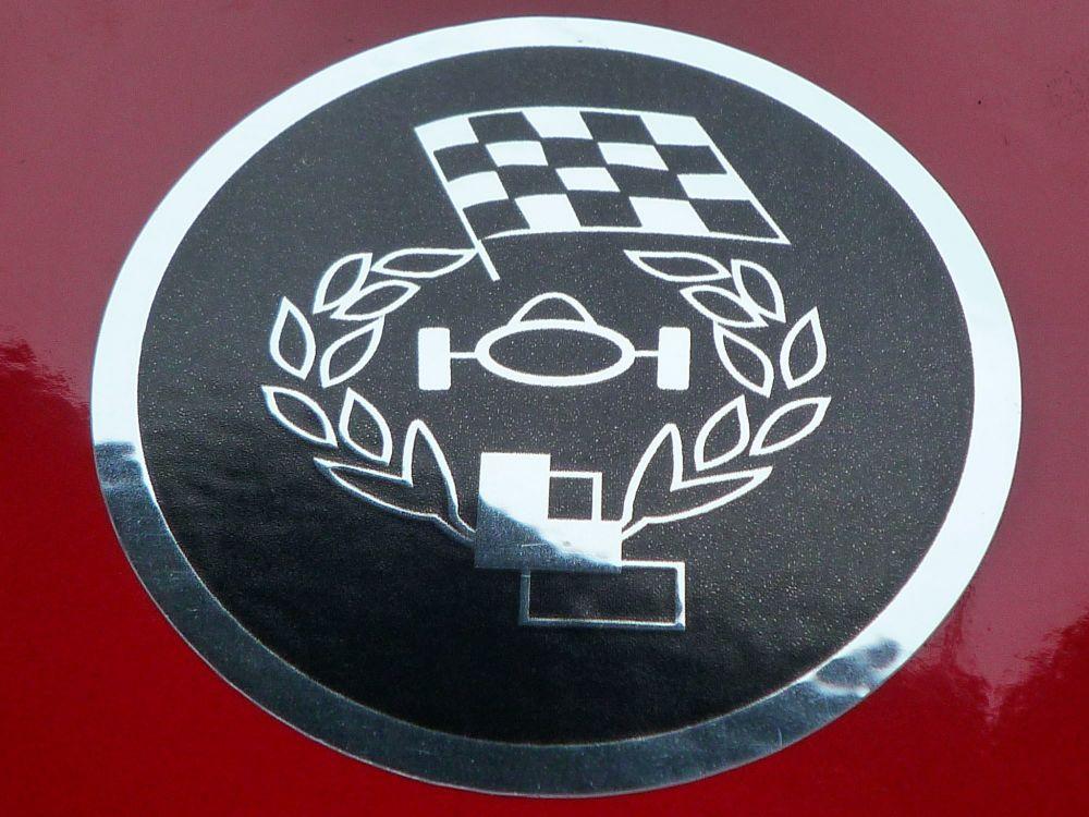 "Les Leston Circular Logo Black & Foil Stickers. 1"" or 2"" Pair."