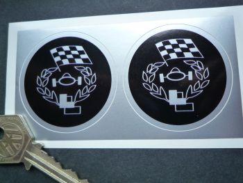 "Les Leston Circular Logo Black & Silver Stickers. 1"" or 2"" Pair."