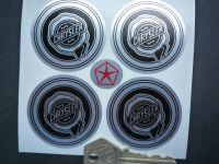 Chrysler Wheel Centre Style Stickers. Black & Brushed Foil. Set of 4. 50mm.
