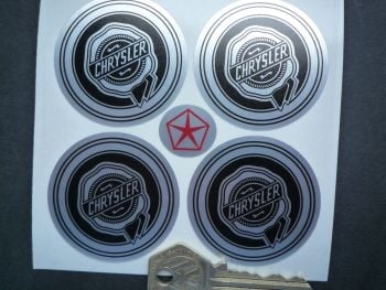 Chrysler Black & Brushed Foil Wheel Centre Stickers. 50mm. Set of 4.