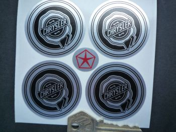 Chrysler Wheel Centre Style Stickers. Black & Brushed Foil. Set of 4. 50mm.