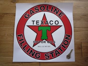 "Texaco Gasoline Filling Station Circular Petrol Pump Sticker. 14""."
