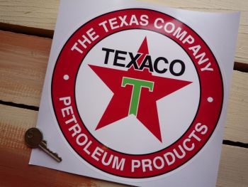 "Texaco Petroleum Products Circular Petrol Pump Sticker. 10"" or 12""."