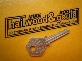 """Hailwood and Gould (Mike Hailwood and Rod Gould) Birmingham Motorcycle Dealers Sticker. 4""""."""