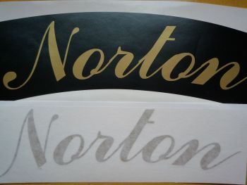 "Norton Curved Gold Cut Text Sticker for Motorcycle Front Number Plate. 8""."