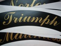 Triumph Curved Gold Cut Text Sticker for Motorcycle Front Number Plate. 8.5