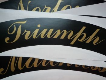 "Triumph Curved Gold Cut Text Sticker for Motorcycle Front Number Plate. 8.5""."
