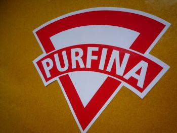 "PurFina Old Style. Red & White. Shaped Petrol Can Stickers. 4"" Pair."