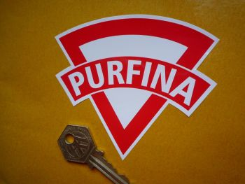 "PurFina Old Style. Red & White. Shaped Petrol Can Sticker. 8""."