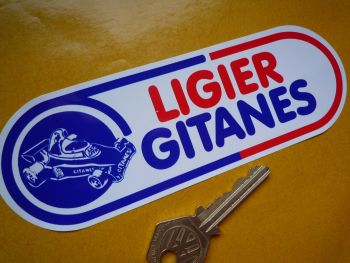 "Ligier Gitanes Rounded Oblong Formula One Sticker. 6""."