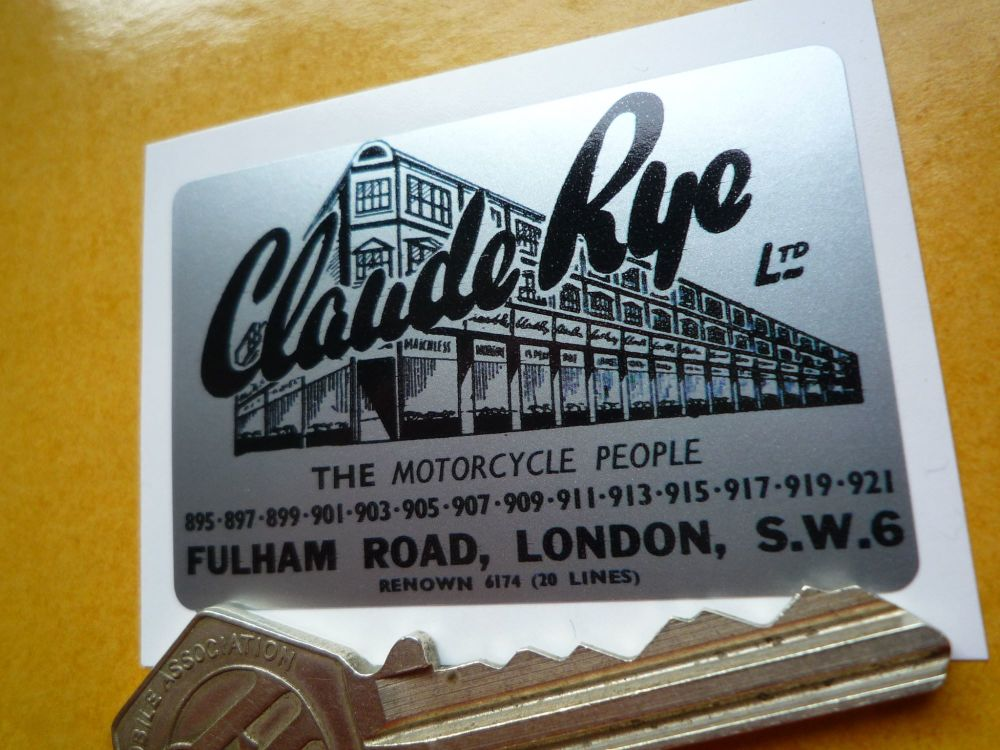 "Claude Rye Ltd Motorcycle Dealers Fulham Road London Sticker. 2.25""."