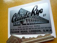 Claude Rye Ltd Motorcycle Dealers Fulham Road London Sticker. 2.25