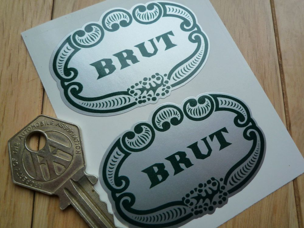 Brut Aftershave Sponsors Shaped Black & Green Stickers. 60mm Pair.