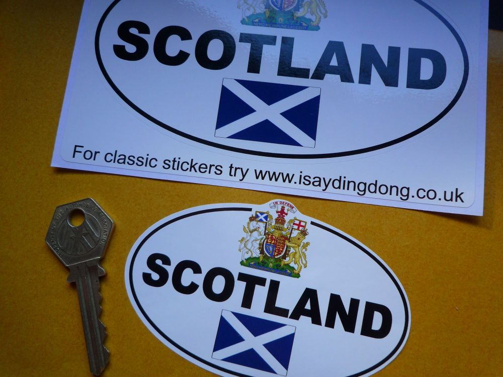 "Scotland Royal Crest & Saltire ID Plate Sticker. 4"" or 6""."