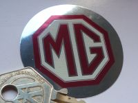 MG TF Cream & Red Thick Foil Octagon Sticker. 2