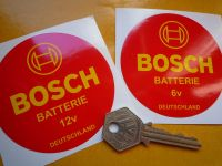 Bosch Batterie Car or Motorcycle Battery Sticker. 6 volt or 12 volt. 3