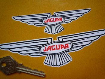 "Jaguar 'Slim' Wing Lozenge White Sticker. Sticky Backed or Window Sticker. 4"", 6"", or 10""."