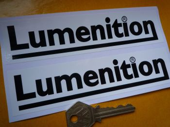 "Lumenition Ignition Black & White Oblong Stickers. 6"" Pair."