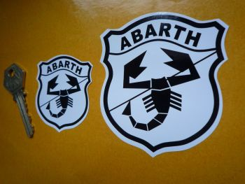 "Abarth Black & White Shield Stickers. 2"" or 3"" Pair."