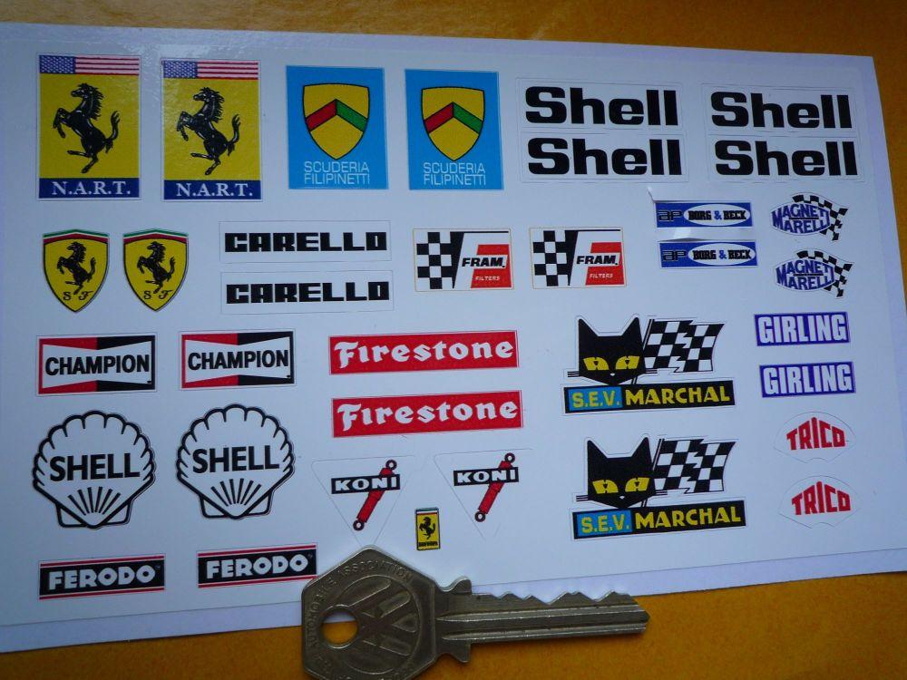 Nart Ferrari 1/18th scale Classic Racing Car Stickers. Set of 35. #23