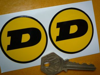 "Dunlop Circular Yellow & Black 'D' Stickers. 2"" Pair."