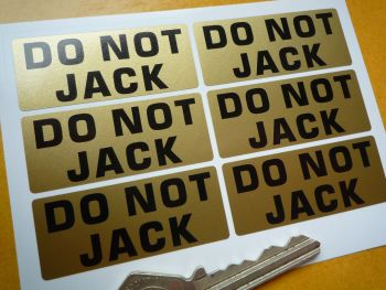 "Do Not Jack Pit Stop Garage Stickers. Various Colours. Set of 6. 2""."
