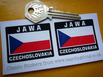 "Jawa Czechoslovakia Flag Style Stickers. 2"" Pair."