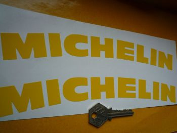 "Michelin Curved Cut Vinyl Text Stickers. Various Colours. 9.5"" Pair."