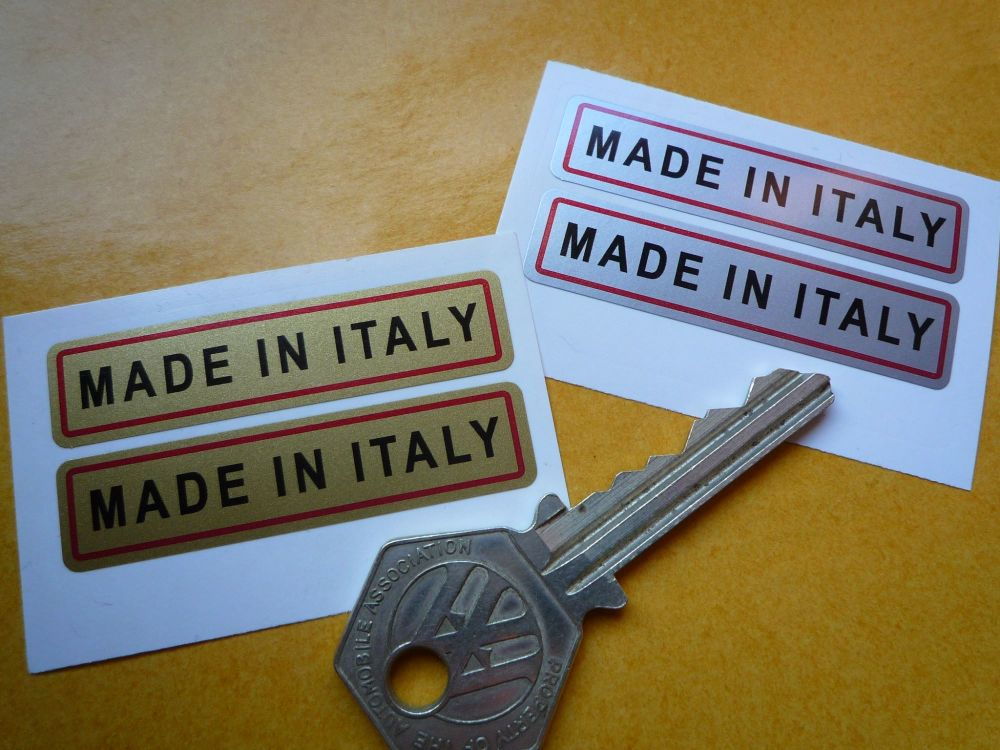 """Made in Italy. Gold or Silver Oblong Stickers. 2"""" Pair."""