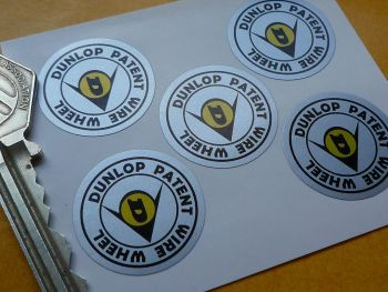 "Dunlop Patent Wire Wheel Stickers. Set of 5. 1""."