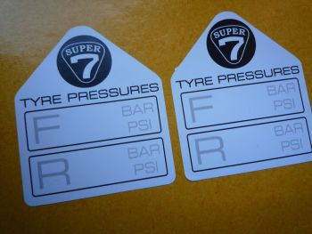 "Super 7 Lotus Westfield Caterham Tyre Pressure Stickers. 1.75"" Pair."