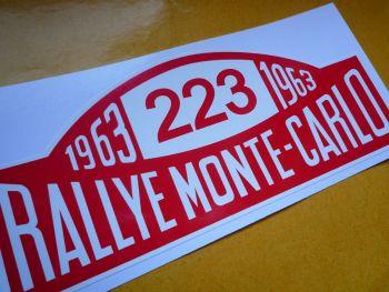 """Ford Falcon No.223 1963 Monte-Carlo Rallye Plate style Sticker. 16""""."""